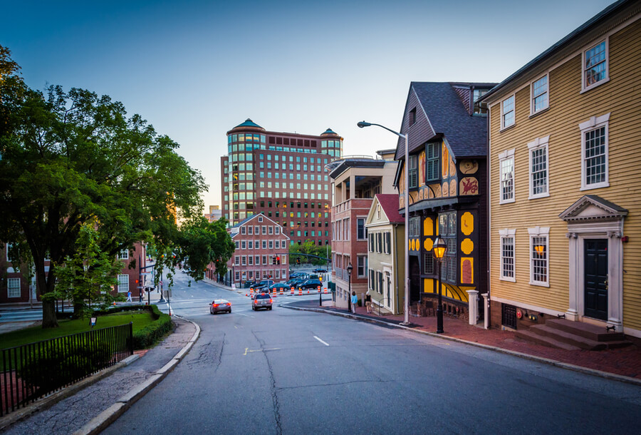 Buildings along Thomas Street, in Providence