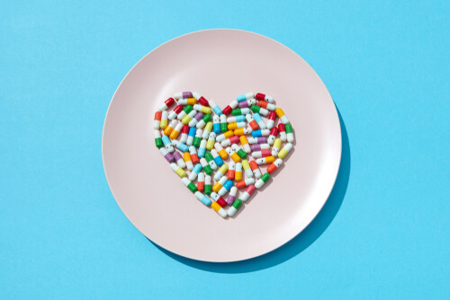 different pills on a plate