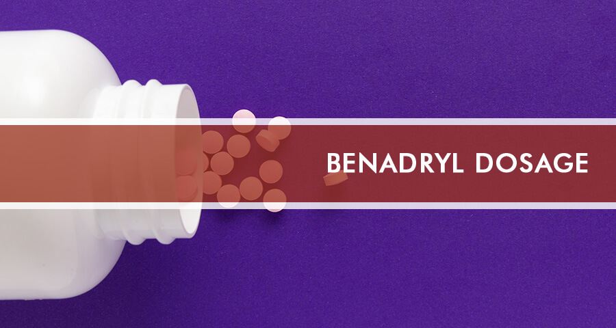 A bottle of Benadryl with a pills spilled