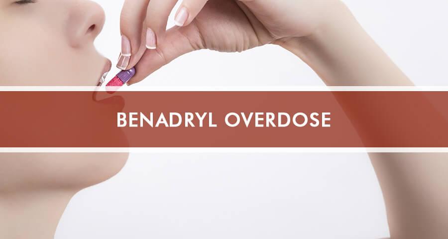 Woman is taking Benadryl capsule