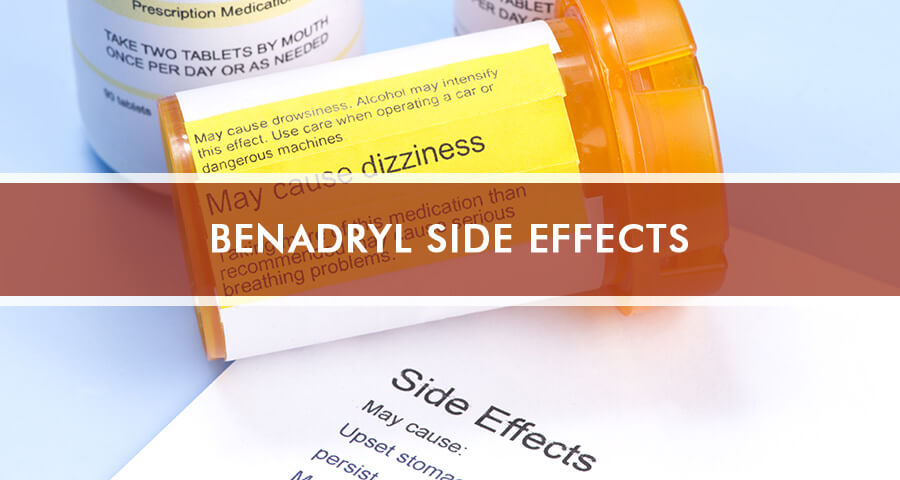 Bottle of Benadryl and a paper with it's side effects