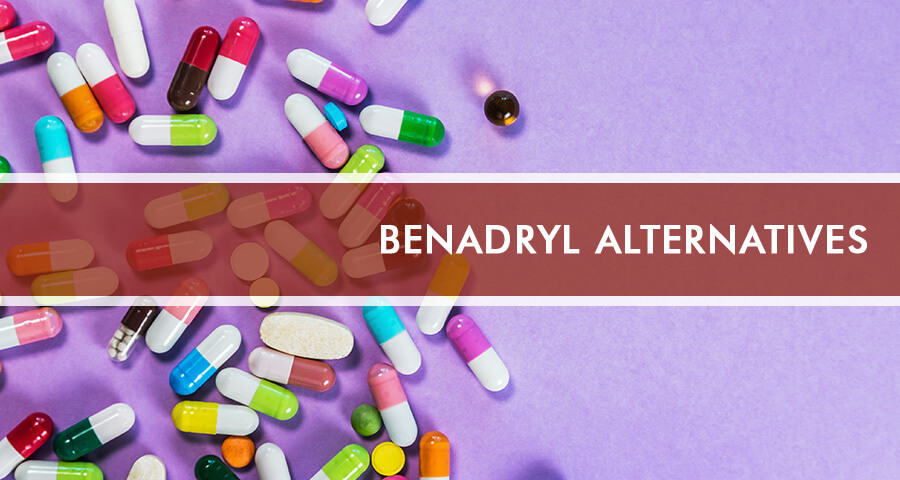 Benadryl Alternatives on purple background