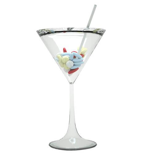 pills in cocktail galss