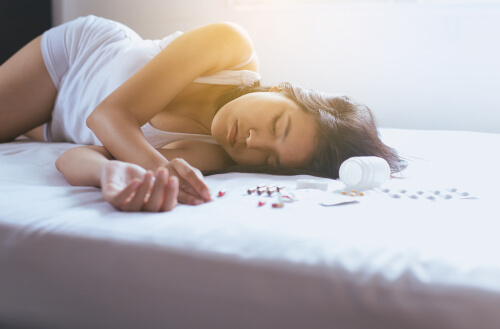 Overdosed on Wellbutrin asian woman is sleeping.jpg