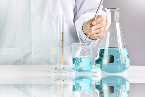 Scientists researching wellbutrin formulations in laboratory