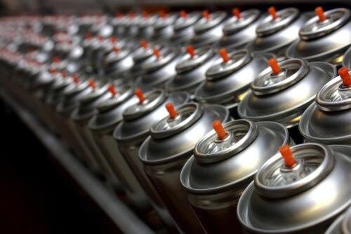 many aerosol cans