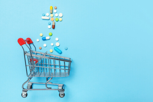 shopping cart with drugs