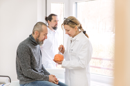 doctor explaining bupropion moa to a male patient
