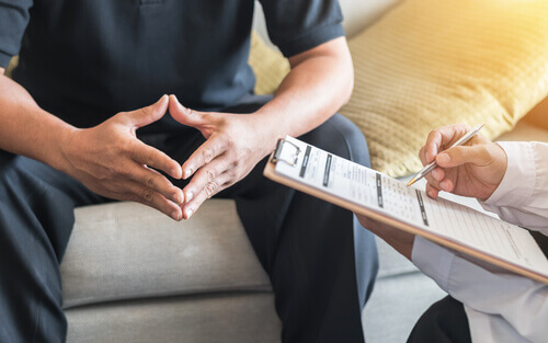 patient having consultation with doctor about wellbutrin abuse