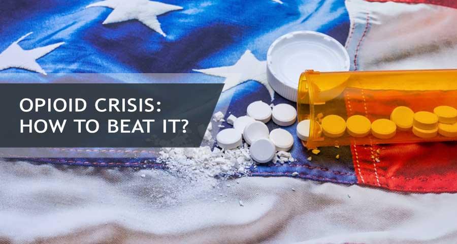 Opioid pills on American flag