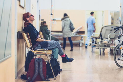 Patient sitting in hospital and waiting