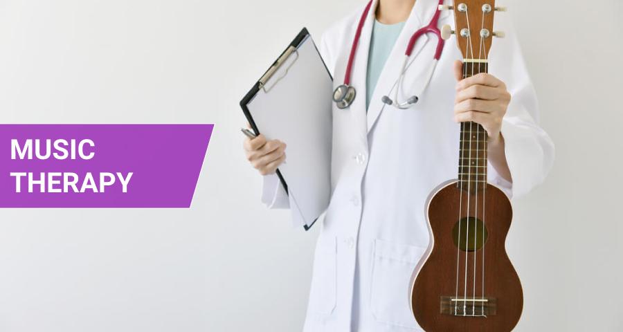 Doctor hand holding ukulele