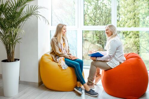 woman with senior female EMDR Therapist