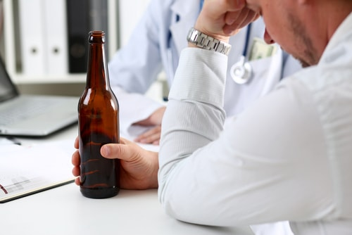 Desperate alcoholic at doctor's office