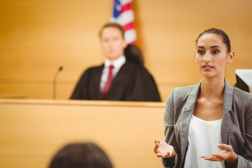 Serious lawyer make a closing statement