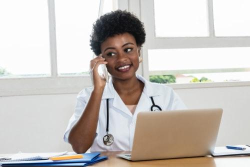 female doctor receiving emergency call