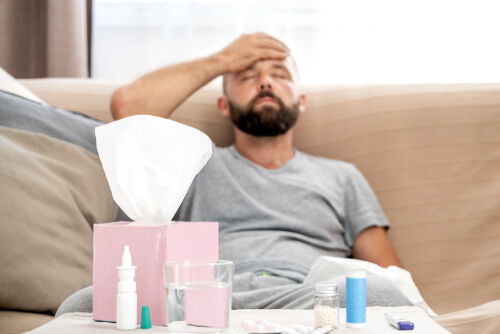 man suffering from fever