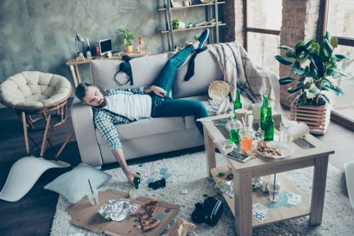 middle-aged party maker having hangover
