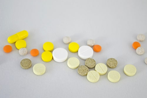 Various prescription benzos on white background.