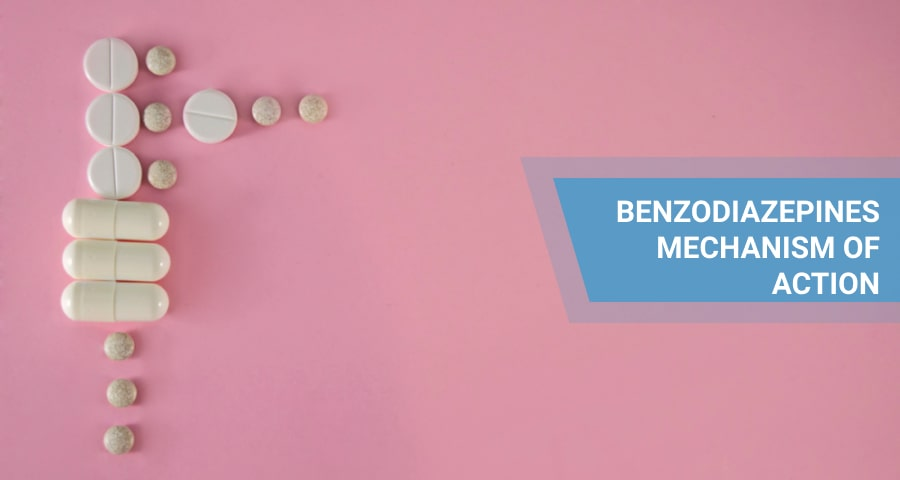 white benzodiazepines on pink background