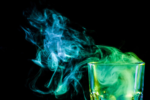 glass with alcohol and vapor