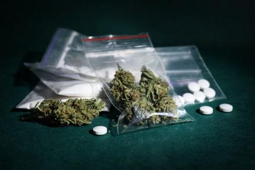 Cocaine, dried hemp and Quetiapine.
