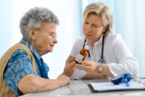 Doctor and patient discussing Seroquel drug class.