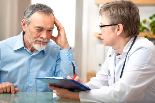 patient tells the doctor about his health complaints.