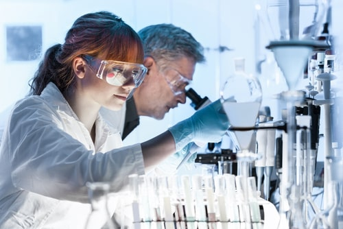 researchers working in life science laboratory.