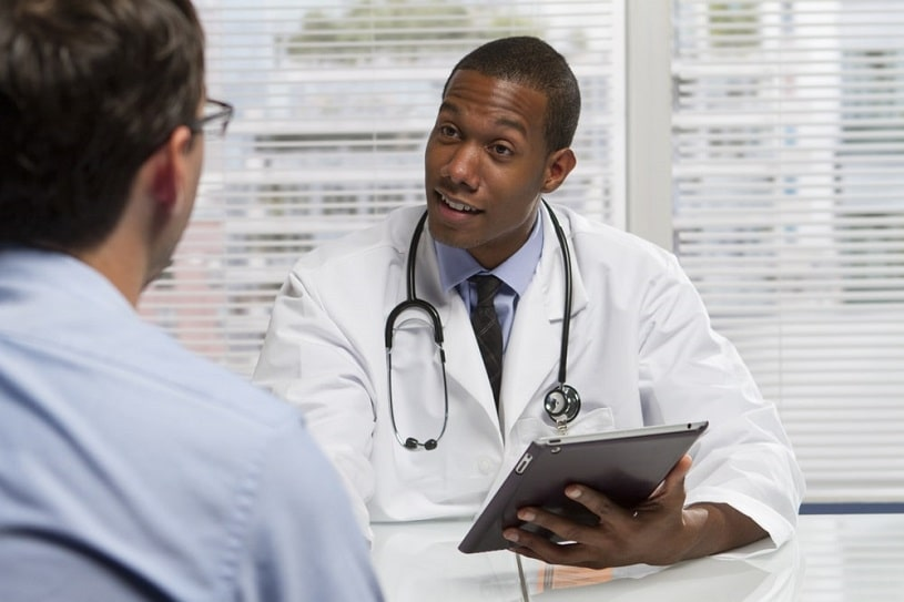 African american doctor has good news.