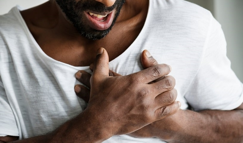Man experience chest pain.