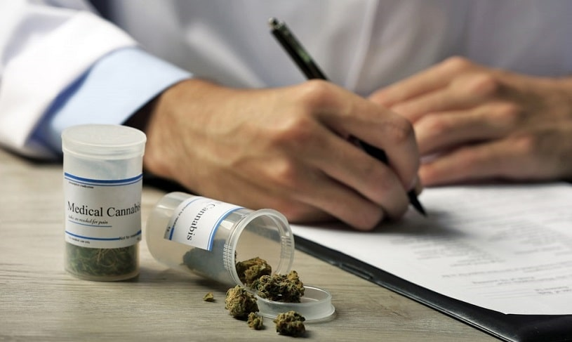 Doctor prescribing marijuana for medical use.
