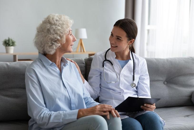Drug rehab specialist encourages patient.