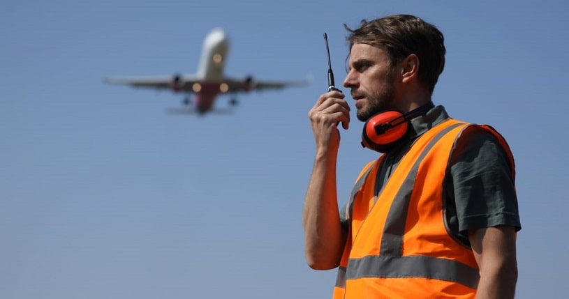 Sober airport ground worker.