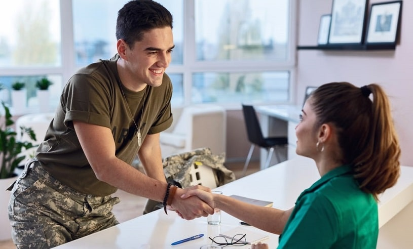 Army soldier at medical lab.