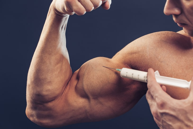 The bodybuilder injects his own biceps.