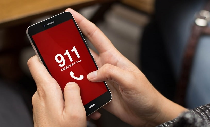 Worried woman calling 911.