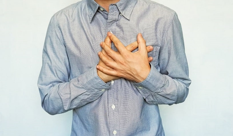 Man with a symptoms of acute heart attack.