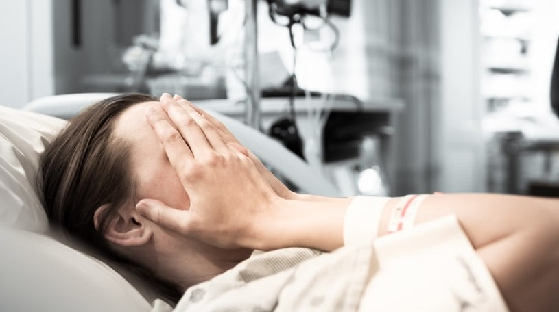 Woman undergoing xanax withdrawal in the hospital.