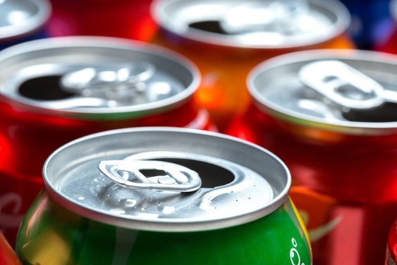 Various soda cans.