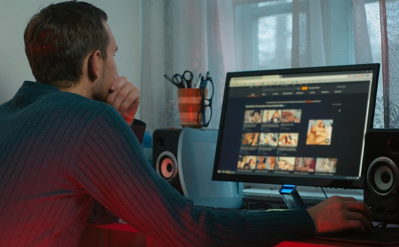 the guy looks at adult content in the browser.