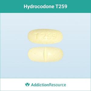 Hydrocodone T259 pill.