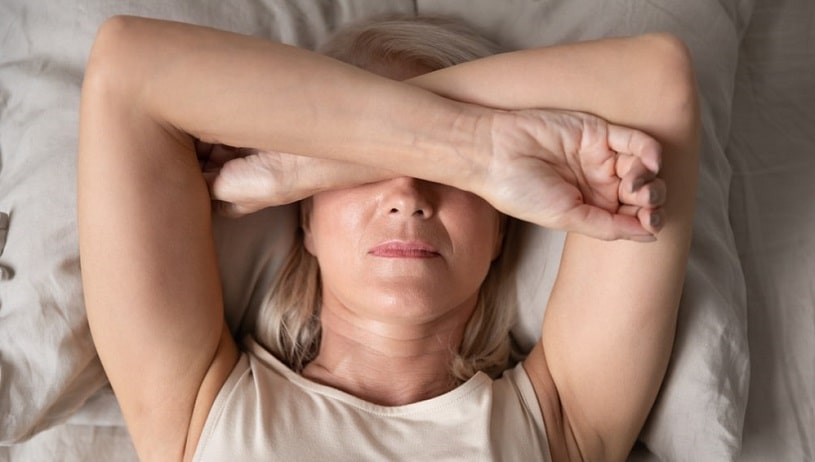 Woman experiencing hydrocodone withdrawal.