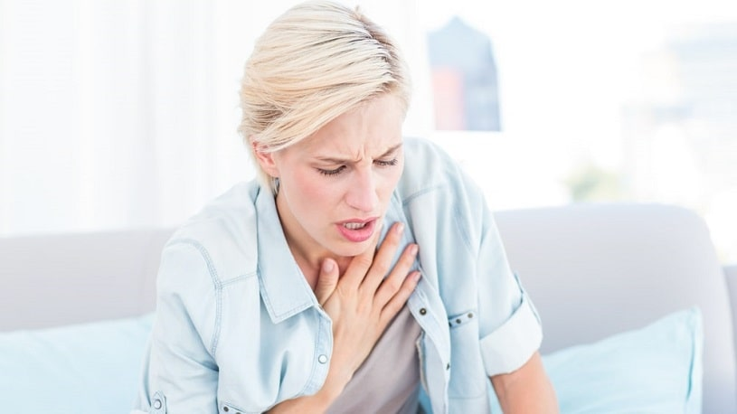 Female experiences breathing problems after hydrocodone.