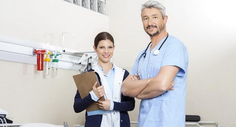 Doctors at a rehabilitation facility.