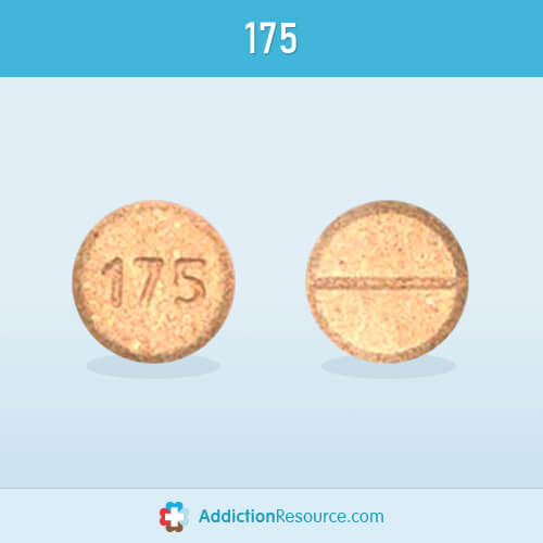 Pill with an imprint 175 and a horizontal line.