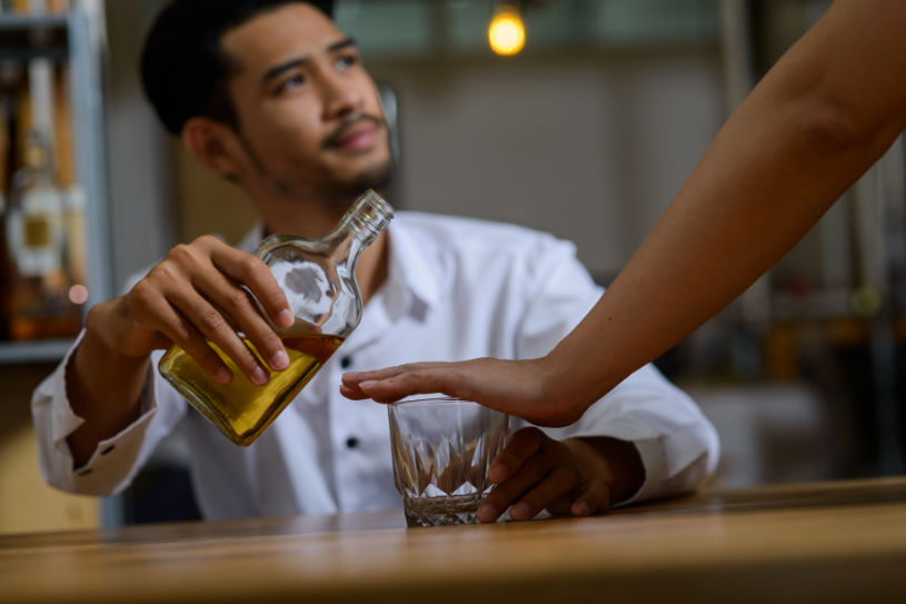 A man supports his friend to quit drinking.