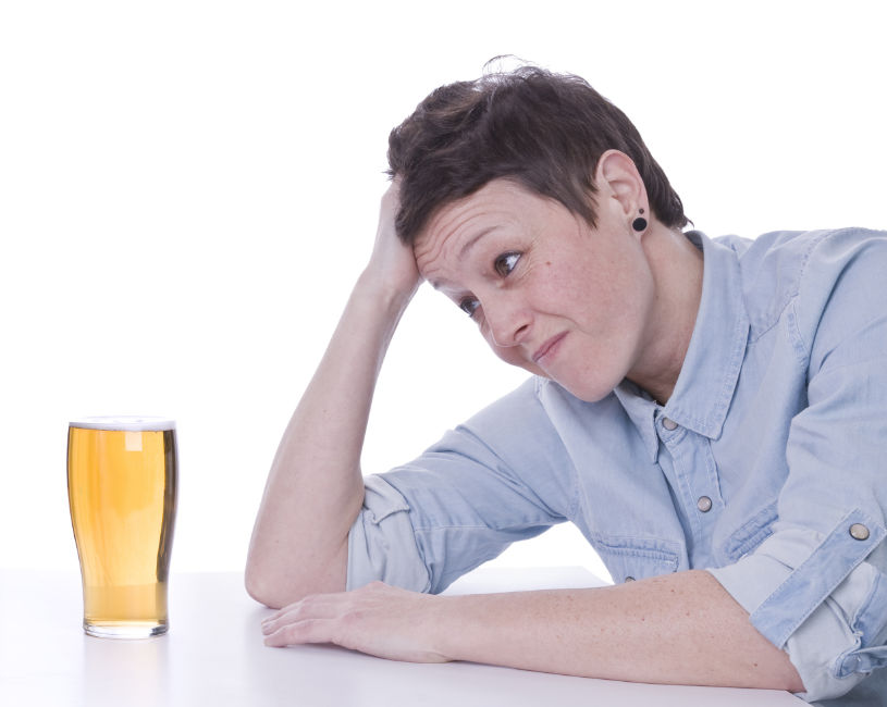 A woman is experiencing alcohol cravings.