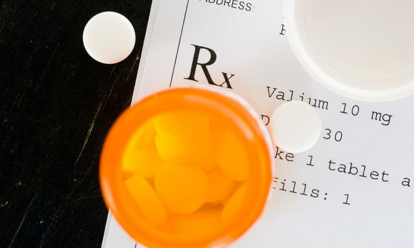 Valium prescription and pill bottle.