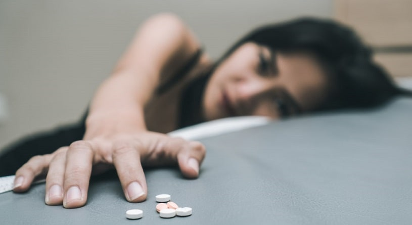 Woman addicted to Klonopin suffering withdrawal.
